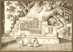Sculptures under a great pipal tree on the terrace adjoining the Mahabodhi temple, Bodhgaya (Bihar). 28 December 1824